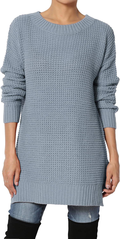TheMogan S~3X Rib Slit Hem Long Sleeve Round Neck Pullover Waffle Knit Sweater