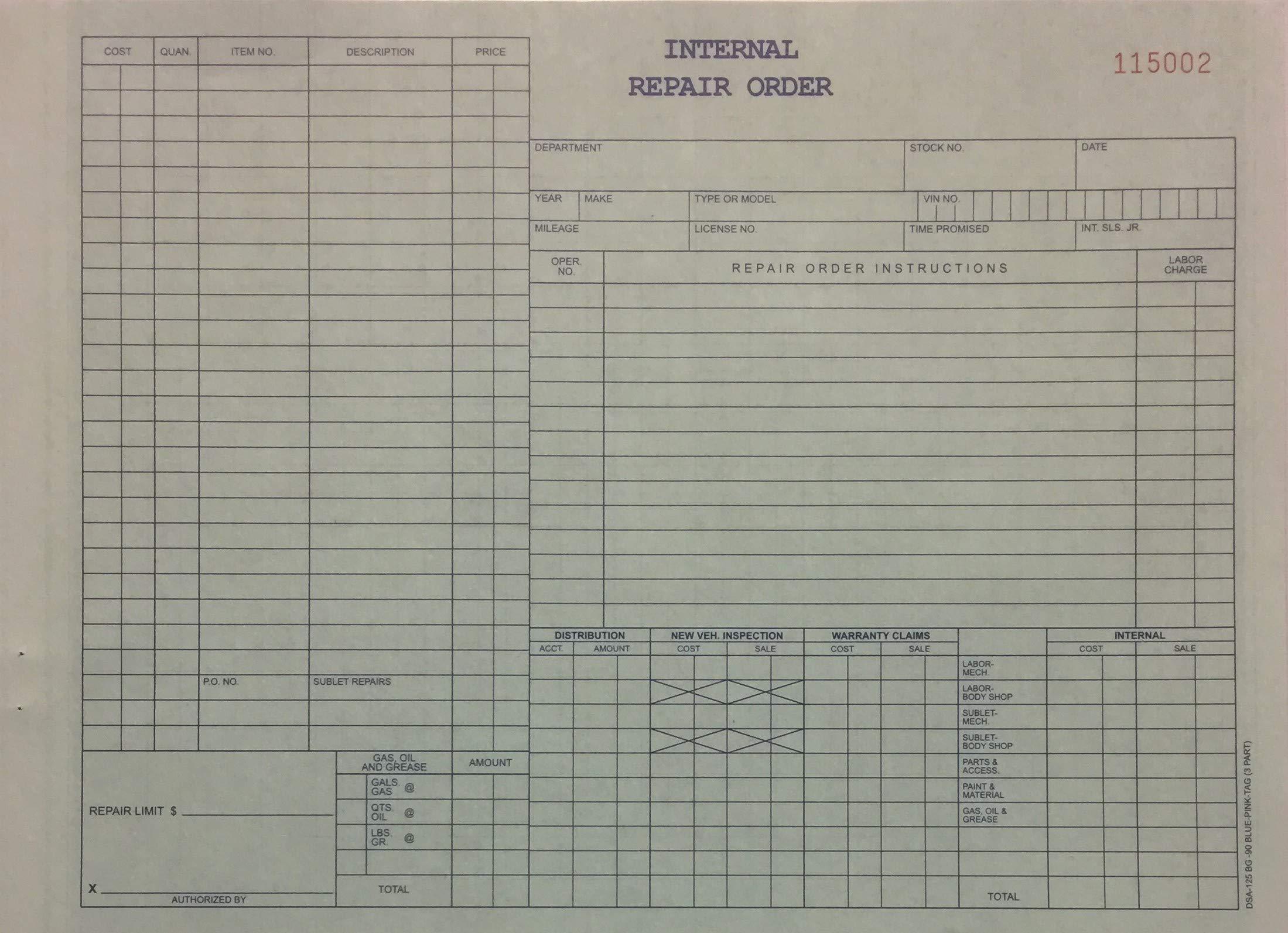 Internal Repair Order 3 Part (DSA-125-BG-90) (250 Per Pack)