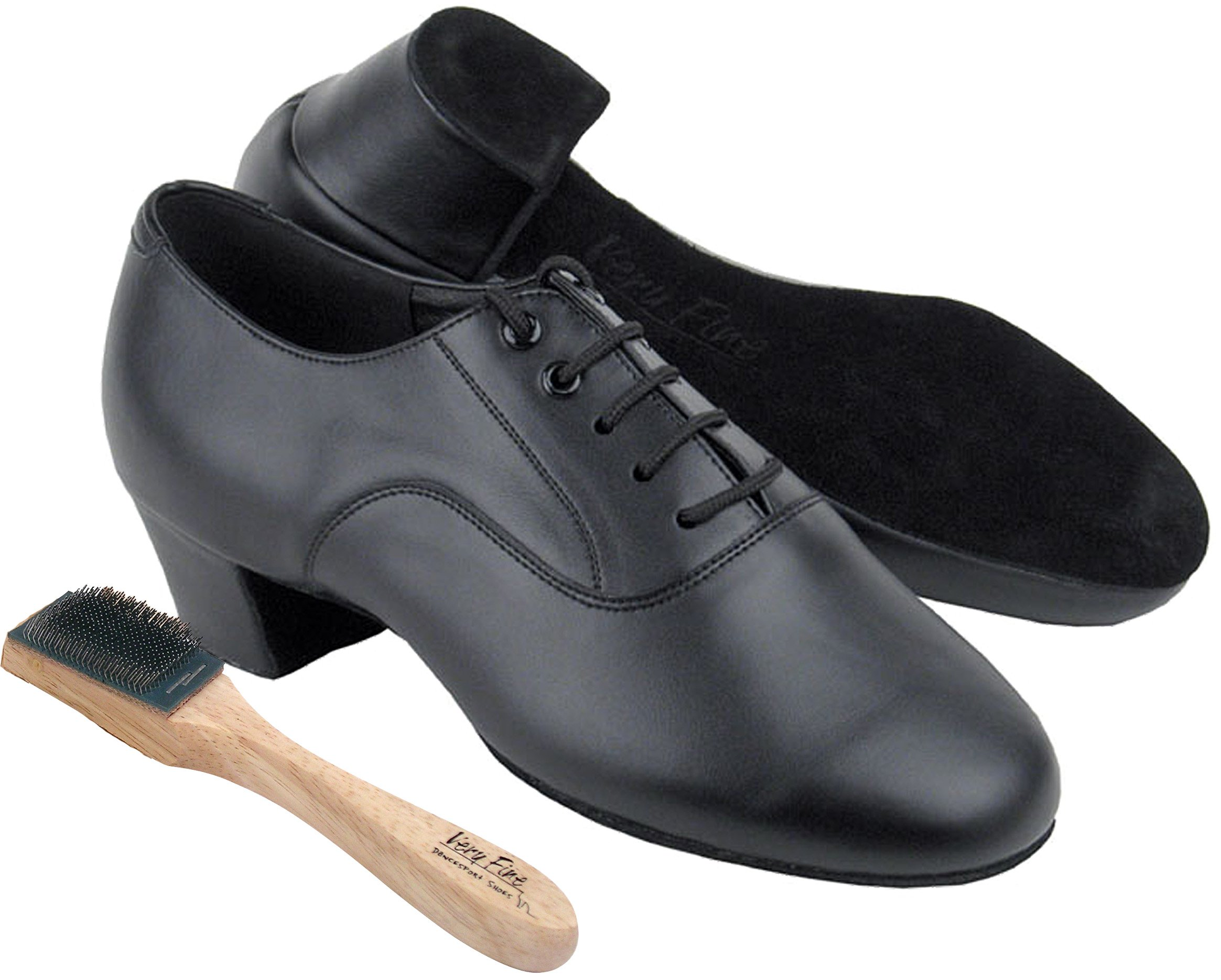 Very Fine Men's Salsa Ballroom Tango Latin Dance Shoes Style C915108 Bundle with Dance Shoe Wire Brush, Black Leather 10 M US Heel 1.5 Inch