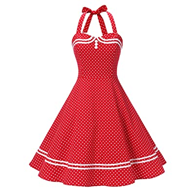Find Dress Women 50s Vintage Short Halter Cocktail Dress with Buttons: Clothing