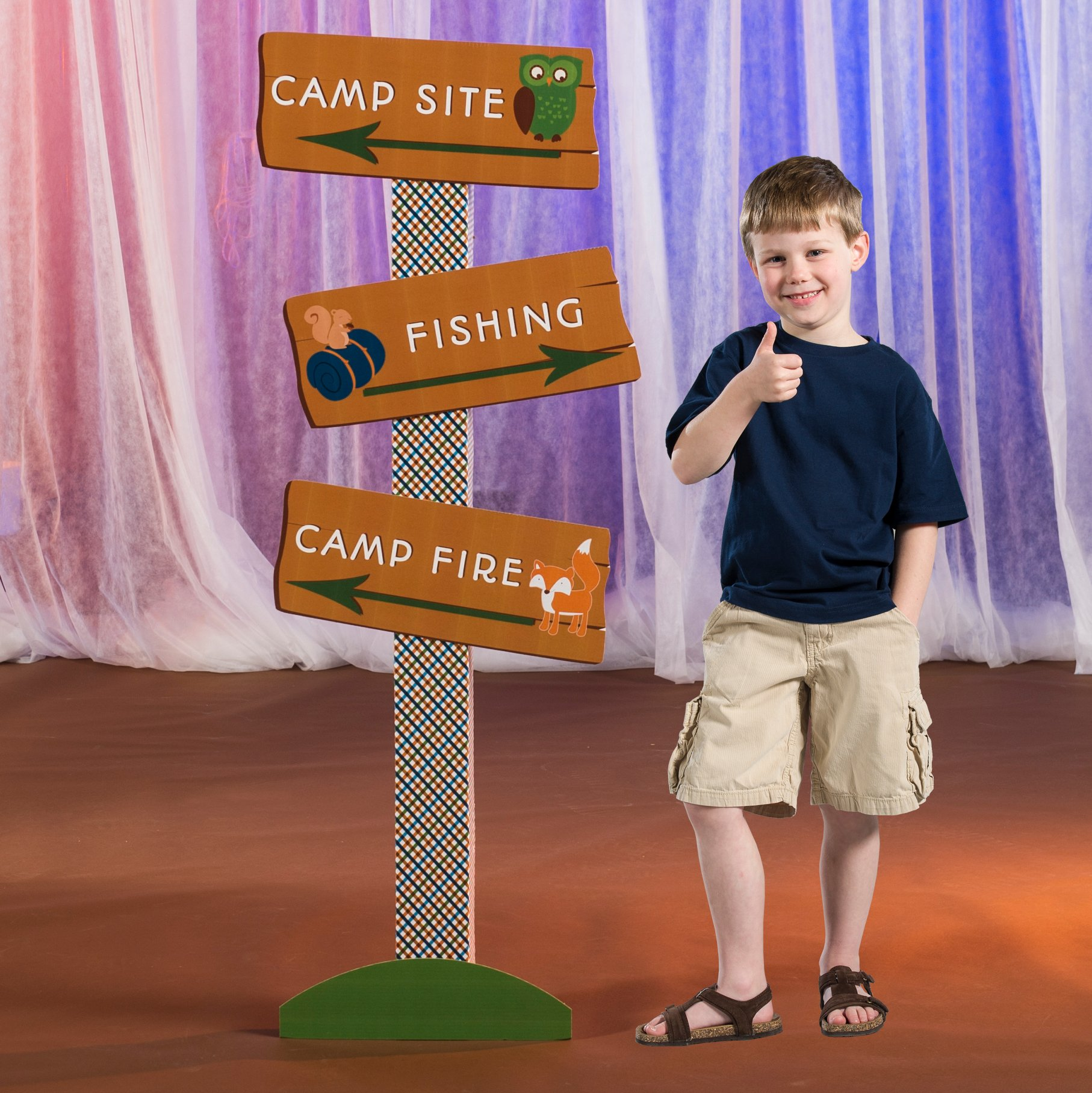 5 ft. 8 in. Happy Campers Camping Directional Sign Standup Background Backdrop Party Decoration Decor Scene Setter Cardboard Cutout