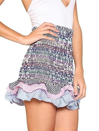 ad9b68f259 Floerns Women's Striped Tiered Ruffle Hem Smock Skirt at Amazon ...