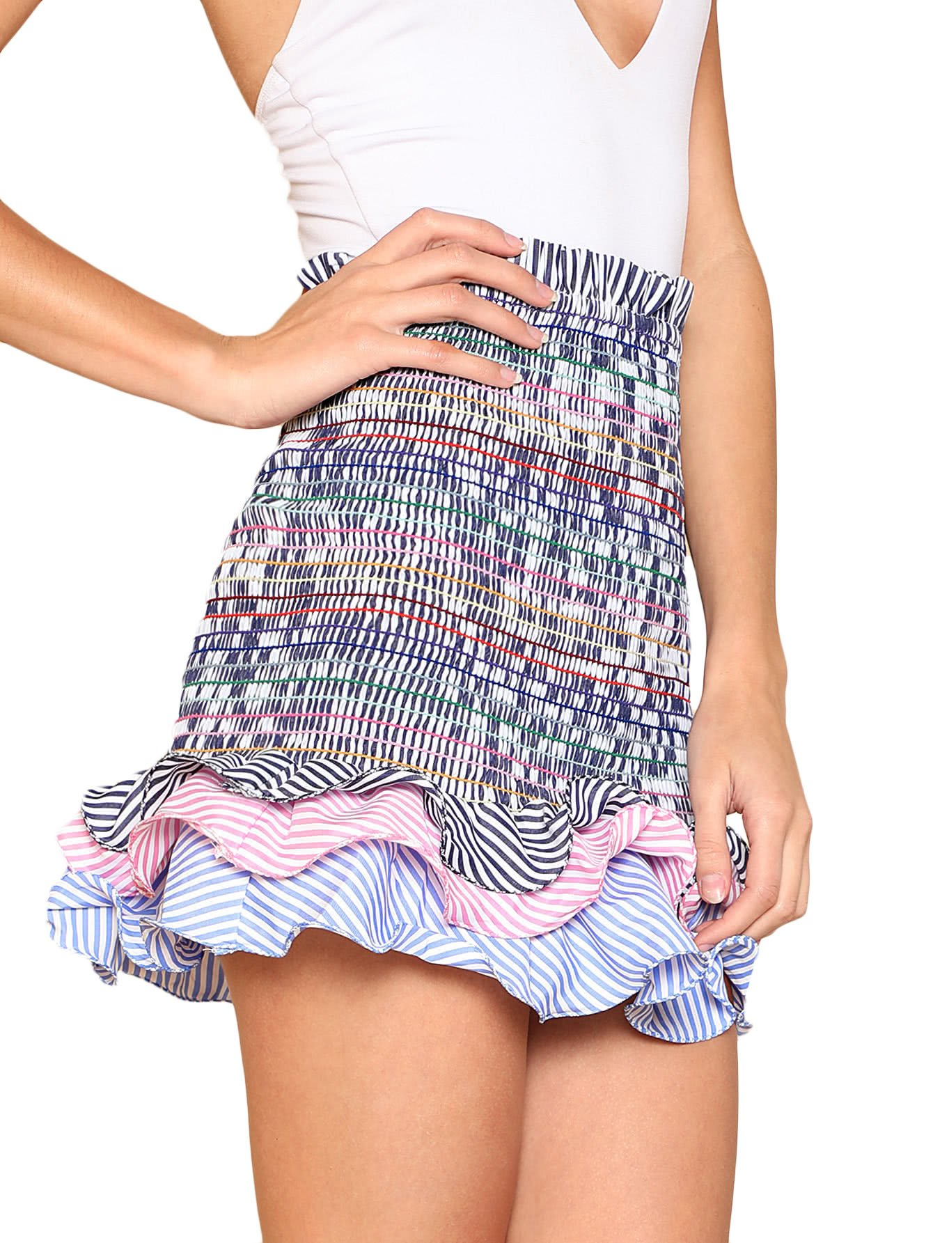 Floerns Women's Striped Tiered Ruffle Hem Smock Skirt Multi L