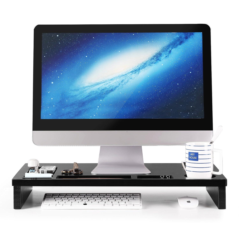SONGMICS Stand Supporto Monitor Laptop Porta Monitor in Bambù con Organizzatore Spazio di Archiviazione per Tavolo Scrivania LLD201