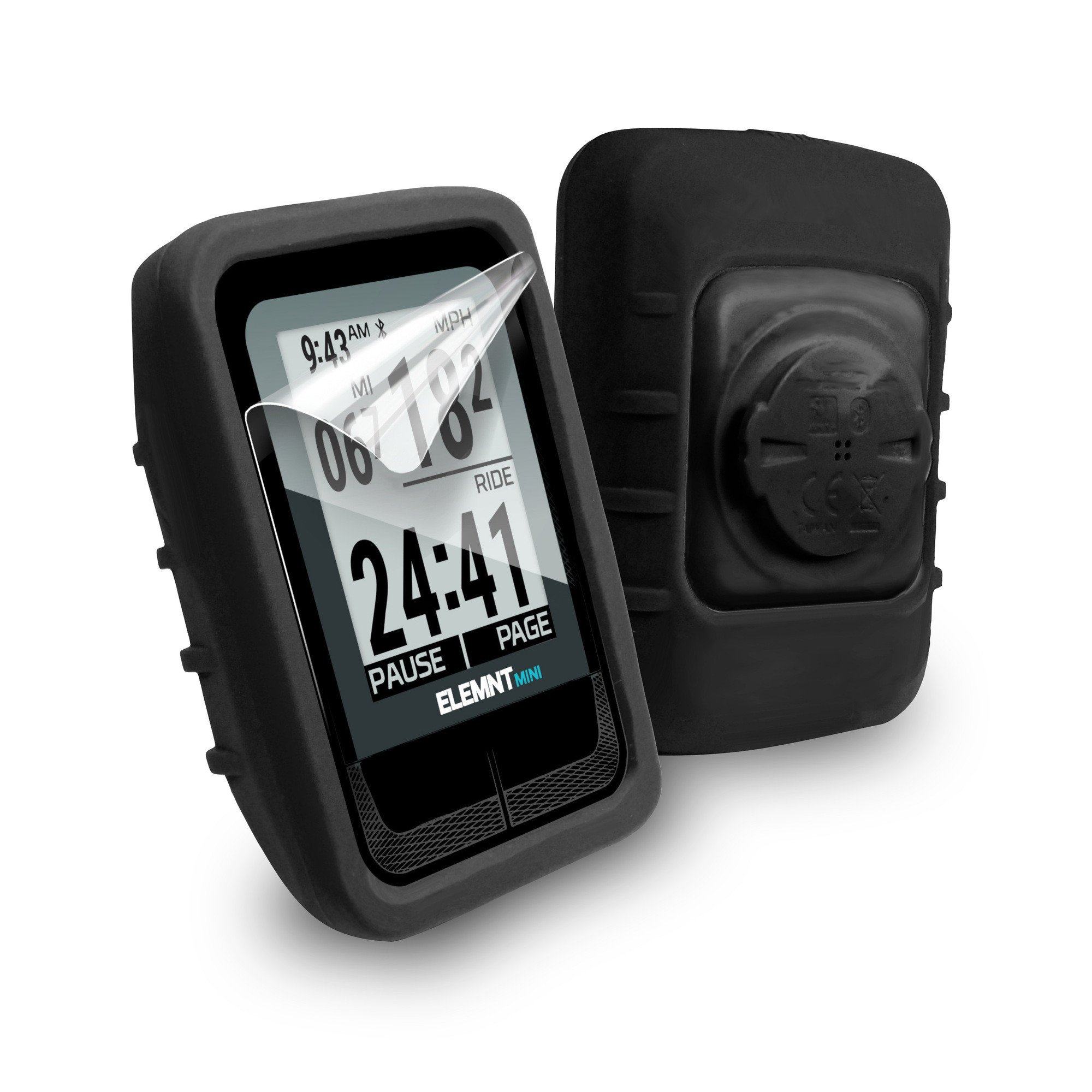 Tuff-luv Silicone Gel Skin Case & Screen Cover Protection for Wahoo Elemnt Mini - Black