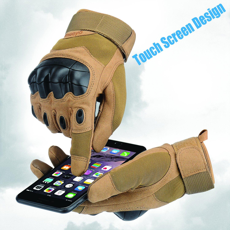Xnuoyo Caoutchouc Hard Knuckle Pleins Doigts Gants Gants de Protection /Écran Tactile Gants pour Moto V/élo Chasse Escalade Camping arm/ée verte, Large