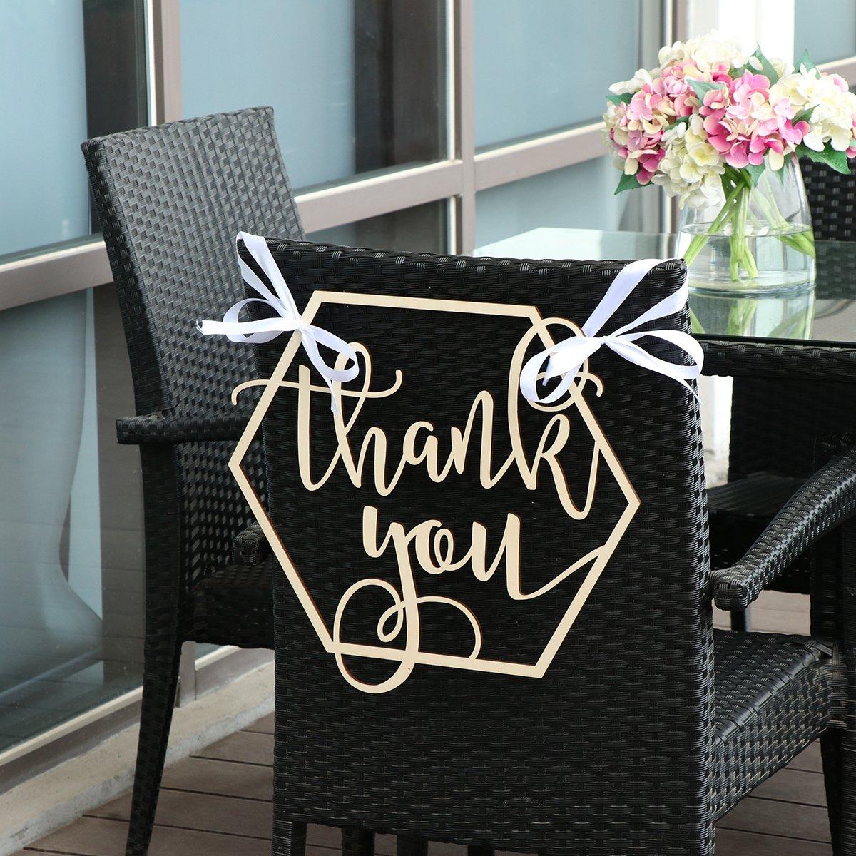 BESTOYARD Wedding Chair Banner Thank You Wood Sign Wedding Photo Booth Prop Wedding Party Decoration by BESTOYARD (Image #4)