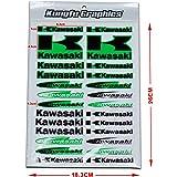 Kungfu Graphics Kawasaki K Micro Sponsor Logo Racing Sticker Sheet Universal (7.2X 10.2 inch), Green Black