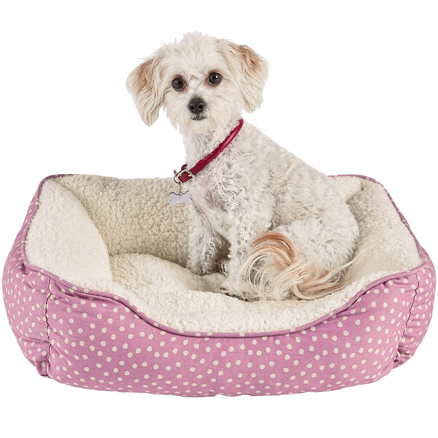 X-Small Harmony Pink Dot Nester Dog Bed, 20  L x 17  W, X-Small, Pink White