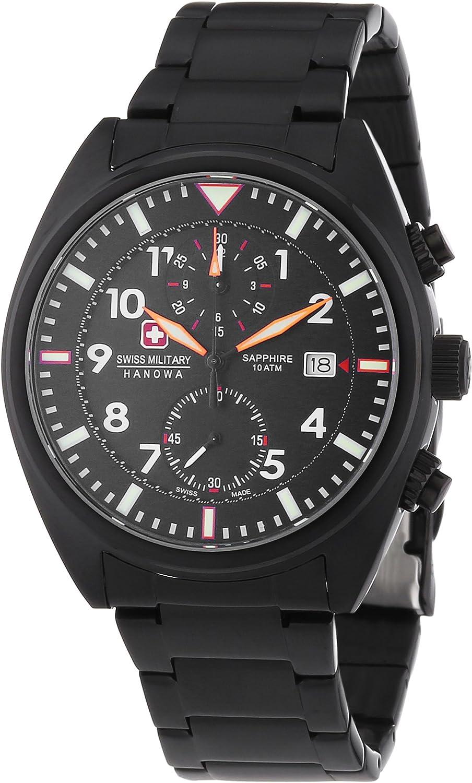 Swiss Military Hanowa Airborne Chrono - Reloj Analógico de Cuarzo para Hombre, Correa de Acero Inoxidable Chapado Color Negro