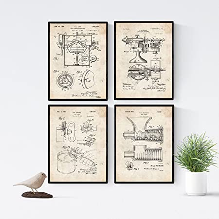 Nacnic Vintage - Pack de 4 Láminas con Patentes de Cocina. Set de ...