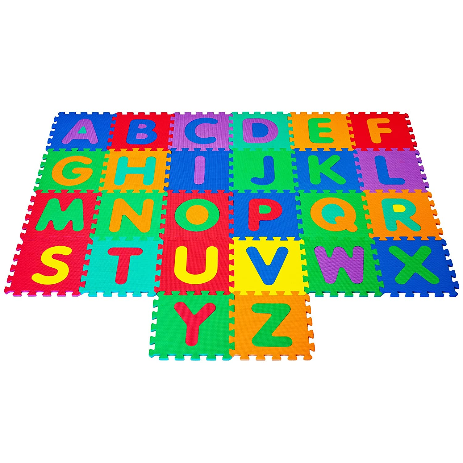 Hey Play Interlocking Foam Tile Play Mat with Letters Nontoxic Children's Multicolor Puzzle Tiles for Playrooms Nurseries Classrooms and More