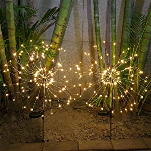 Solar Garden Lights Outdoor 120LED Solar Firework Lights 40 Copper Wires String Landscape Light, DIY Stake Light for Walkway Patio Lawn Backyard,Christmas Party Decor