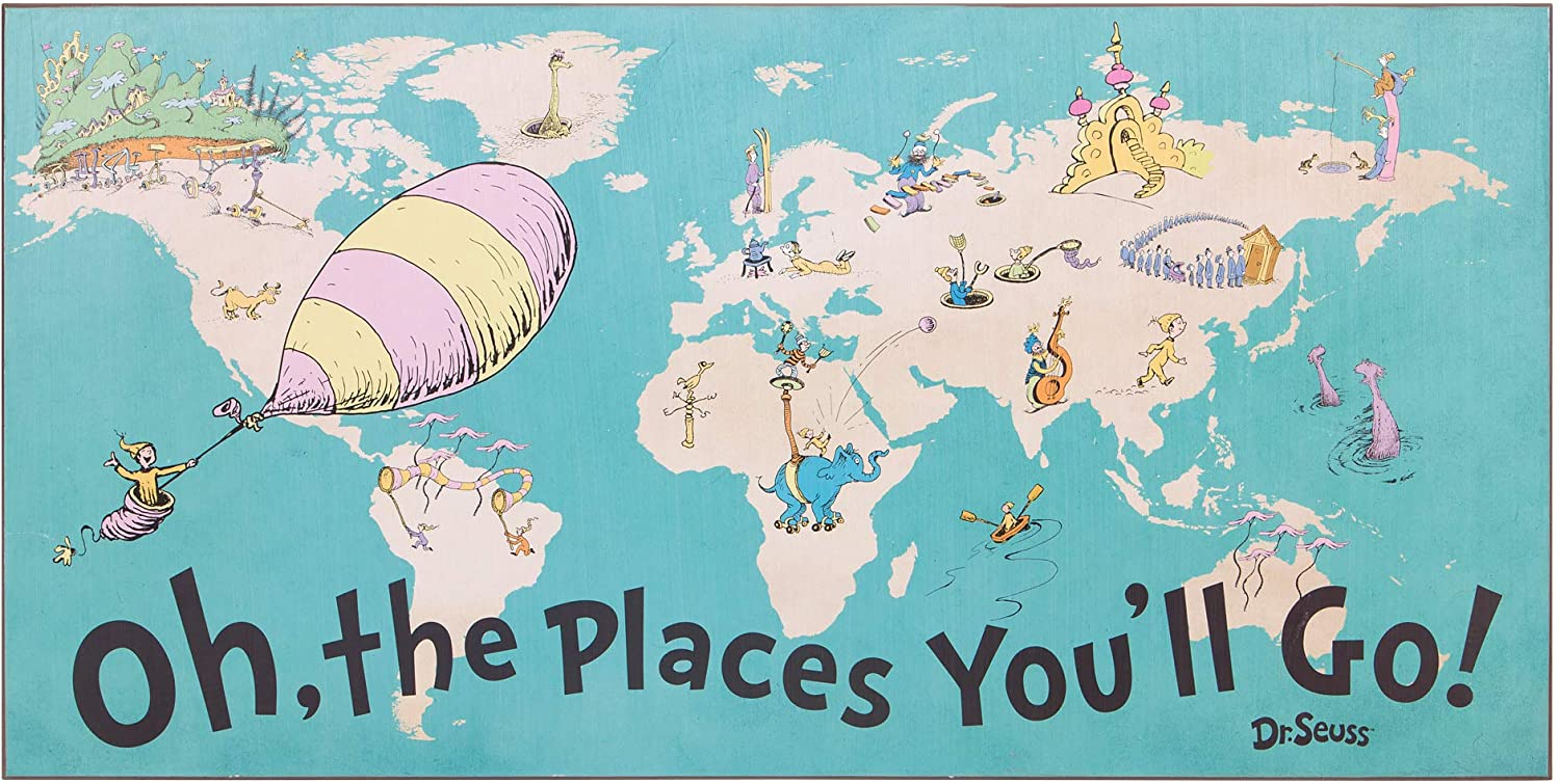Patton Wall Decor 40x20 Dr. Seuss Colorful Characters Oh The Places You'll Go World Map Stretched Canvas Art Wall Decor, Blue