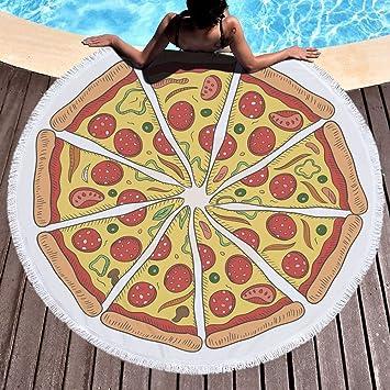 Pizza Toalla de playa grande redondo microfibra toalla de playa hippie boho playa manta Picnic pared Alfombra para yoga (150 cm 2: Amazon.es: Hogar