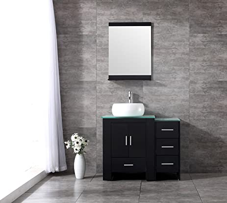 Sliverylake 36inch Black Bathroom Vanity Cabinet Top Single Vessel Sink And  Faucet Combo