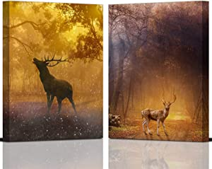 Deer Canvas Wall Art for Living Room Bathroom Buck and Sika Prints Painting 12×16 Inch in 2 Pieces Brown Fall Wall Pictures Deer Decorations for Home Decor Autumn Forest Scenic with Frame Ready to Hang