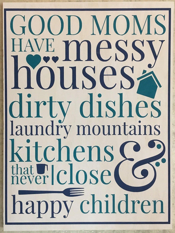 メアリーB装飾アートGood Moms Happy Have Messy Houses Happy Children Plaque Wall Plaque Houses 16インチ手描き B07CPHJX46, CHARMING(チャーミング):e30de442 --- ijpba.info