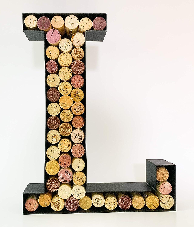 Wine Cork Holder A-Z Metal Monogram Letter Letter L