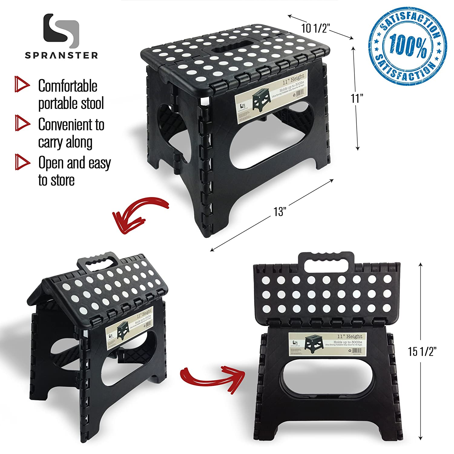 Amazon.com Super Strong Folding Step Stool - 11  Height - Holds up to 300 Lb - The lightweight foldable step stool is sturdy enough to support adults ...  sc 1 st  Amazon.com : folding step up stool - islam-shia.org