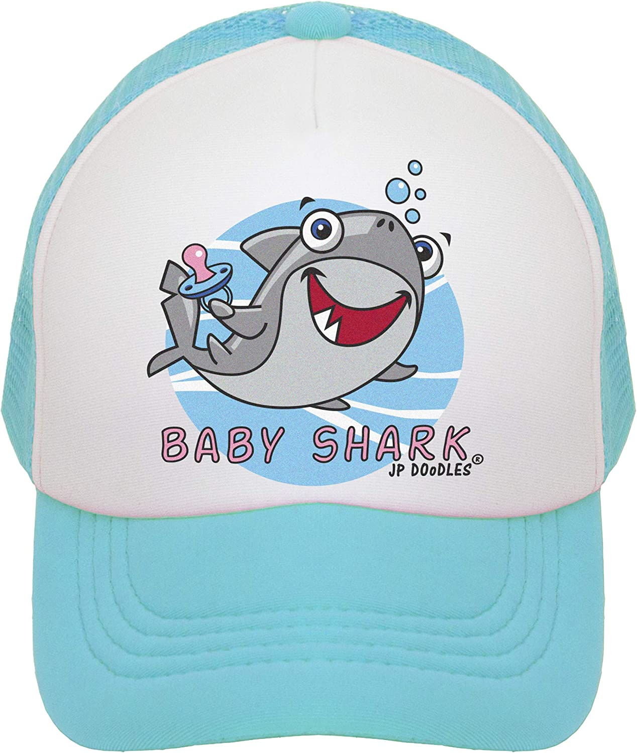 JP DOoDLES Baby Shark Hat Kids Trucker Hat. Baseball Mesh Back Cap fits Baby, Toddler and Youth.