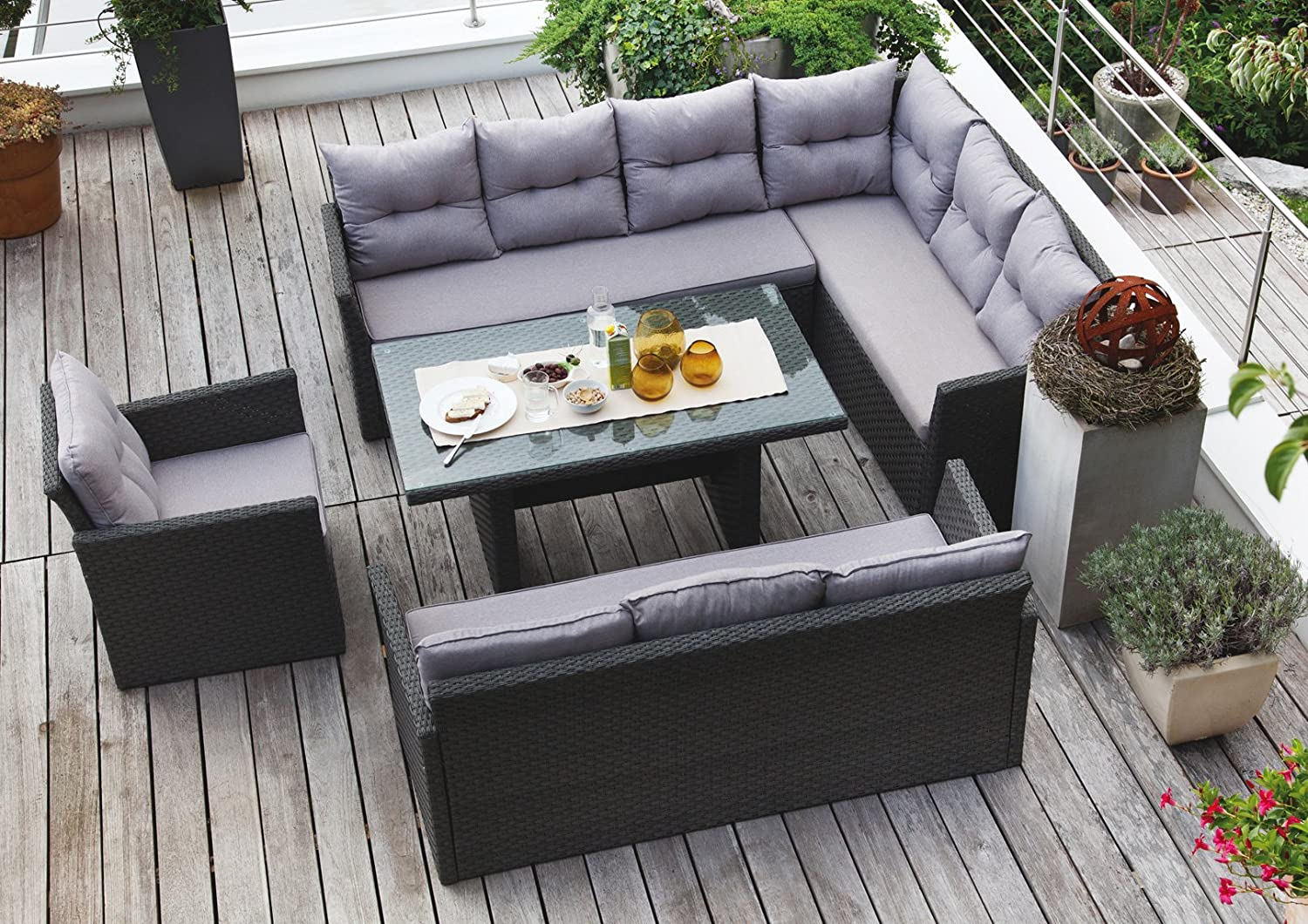 edle dining lounge garten sitzgruppe hampton rattan garnitur mit hohem tisch g nstig online kaufen. Black Bedroom Furniture Sets. Home Design Ideas
