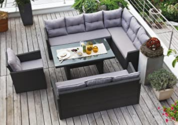 Amazonde Edle Dining Lounge Garten Sitzgruppe Hampton Rattan