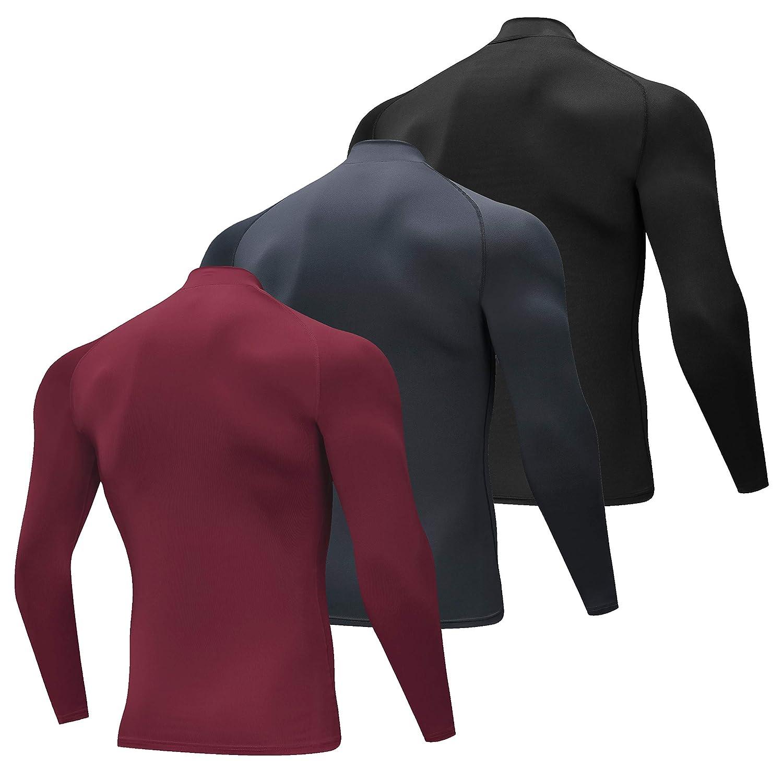 SILKWORLD Mens 3 Pack Compression Shirt Dry Fit Long-Sleeved Sports Baselayer