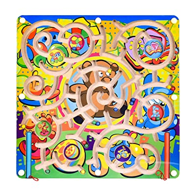 FUN LITTLE TOYS Wooden Toys Magnetic Puzzle Board, Wooden Magnetic Puzzle Activity Game, Birthday Gift for Boys & Girls: Toys & Games