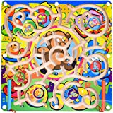 Wooden Toys Magnetic Puzzle Board, Wooden Magnetic Puzzle Activity Game, for Boys & Girls