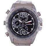 M MHB Analogue Black Dial Men's Spy Camera Watch - sc-Steelwatch-1