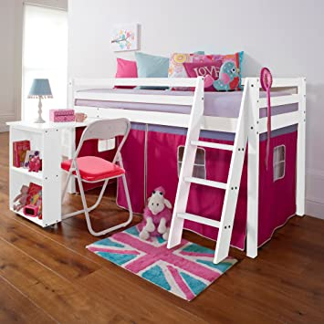 Noa And Nani Cabin Bed With Desk In Pink White Mid Sleeper Desk Wg