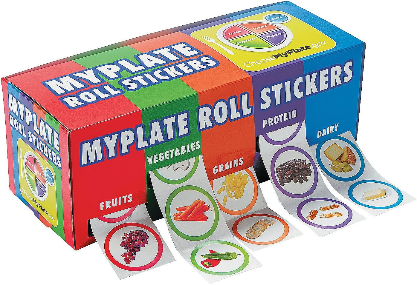 My Plate Roll Stickers - 5 Rolls (100 Stickers per Roll) - Educational and Learning Activities for Kids