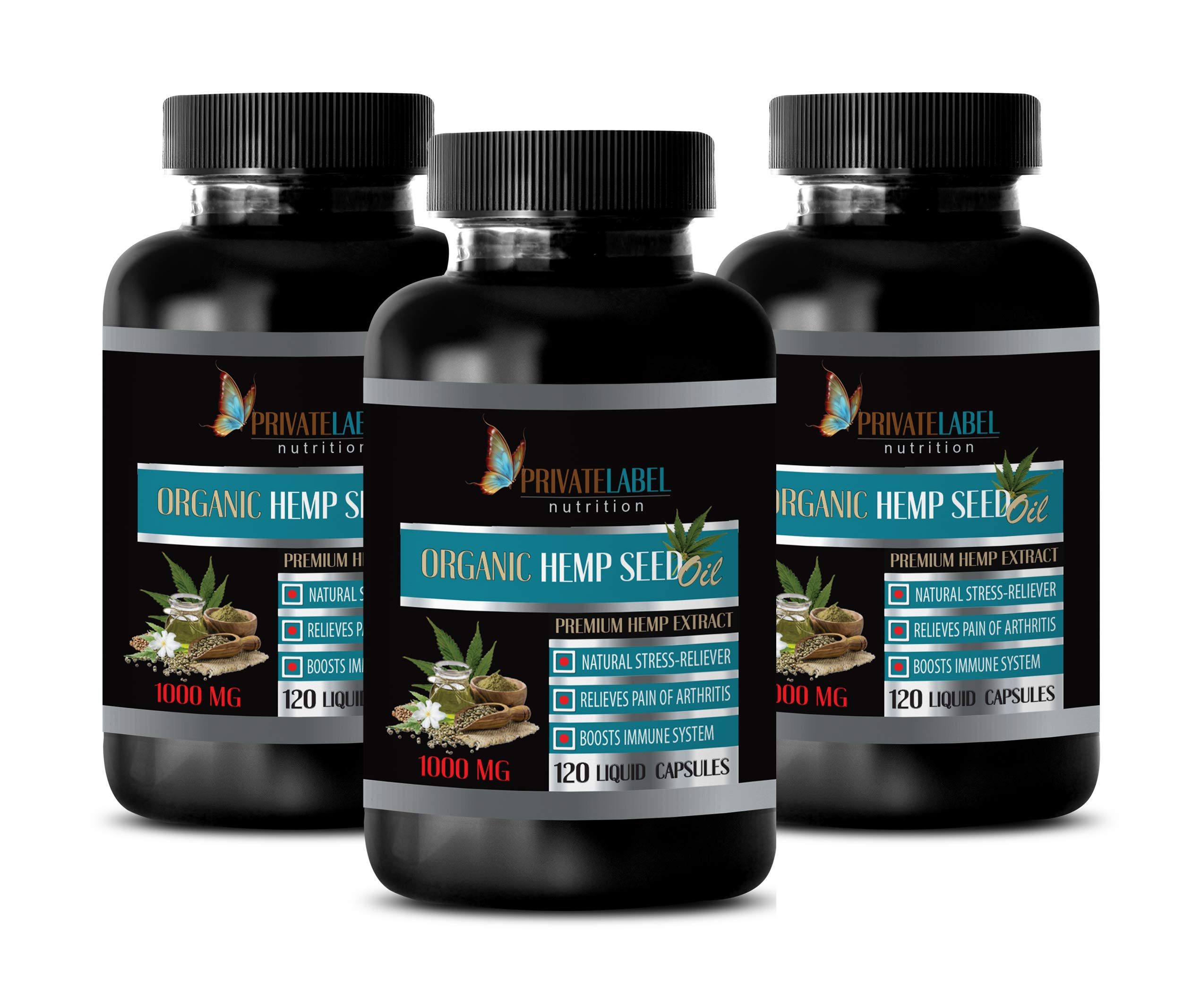 Immune System Booster Organic - Organic Hemp Seed Oil 1000MG - Hemp Seed Oil for Anxiety and Sleep - 3 Bottles 360 Liquid Capsules