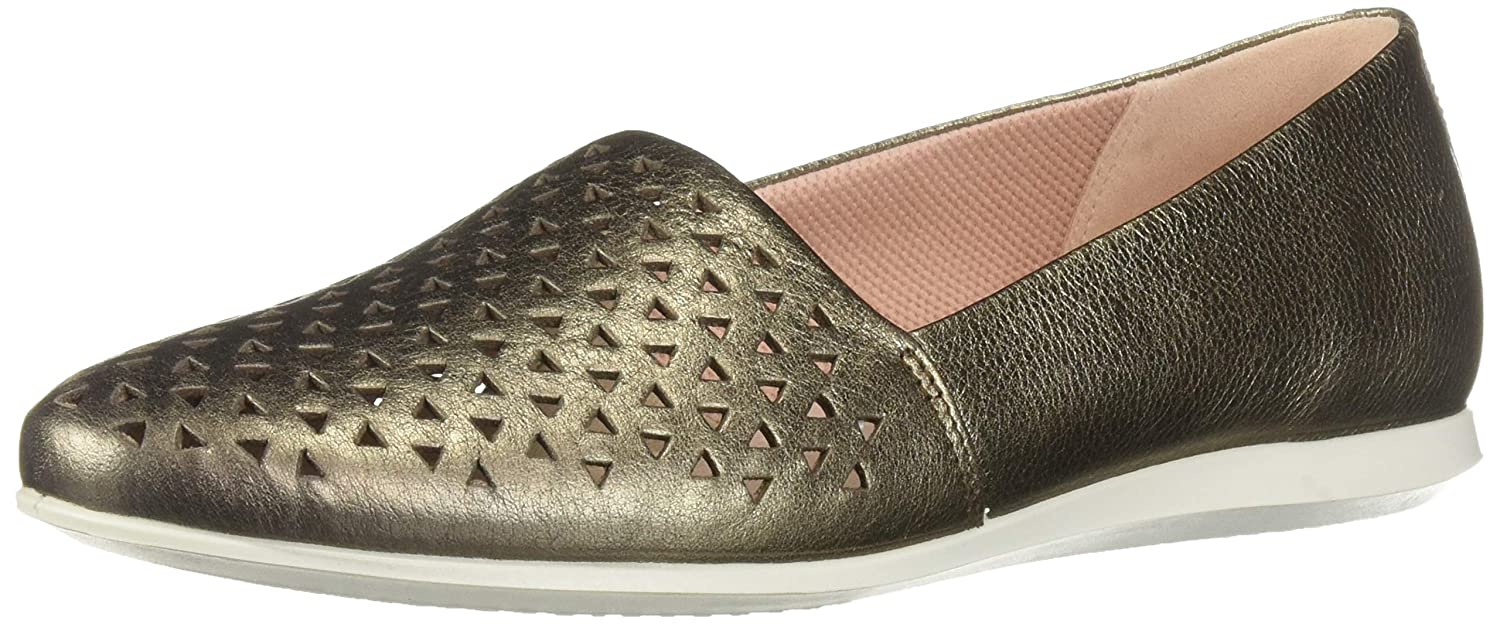 Stone Metallic Perforated ECCO Womens Touch Ballerina 2.0 Ballet Flat