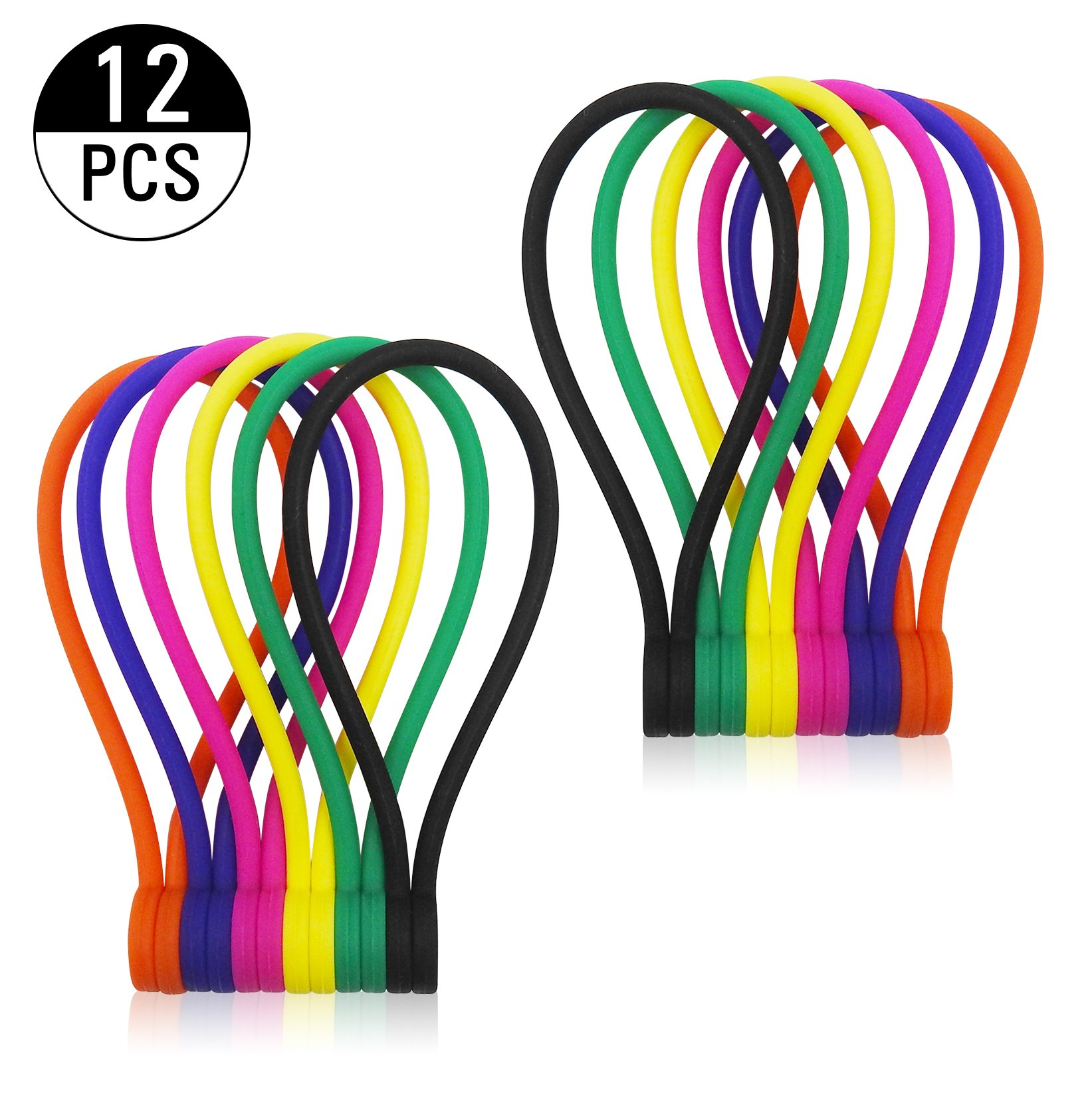 Smart&Cool 12-Pack 6-Color Reusable Silicone Twist Ties with Strong Magnet for Bundling and Organizing, Can Be Used in Many Ways or Just for Fun