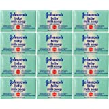 Johnson & Johnson Baby Milk Soap, with Milk Proteins, Vitamins A & E, 3.5 Oz. / 100 G (Pack of 12)