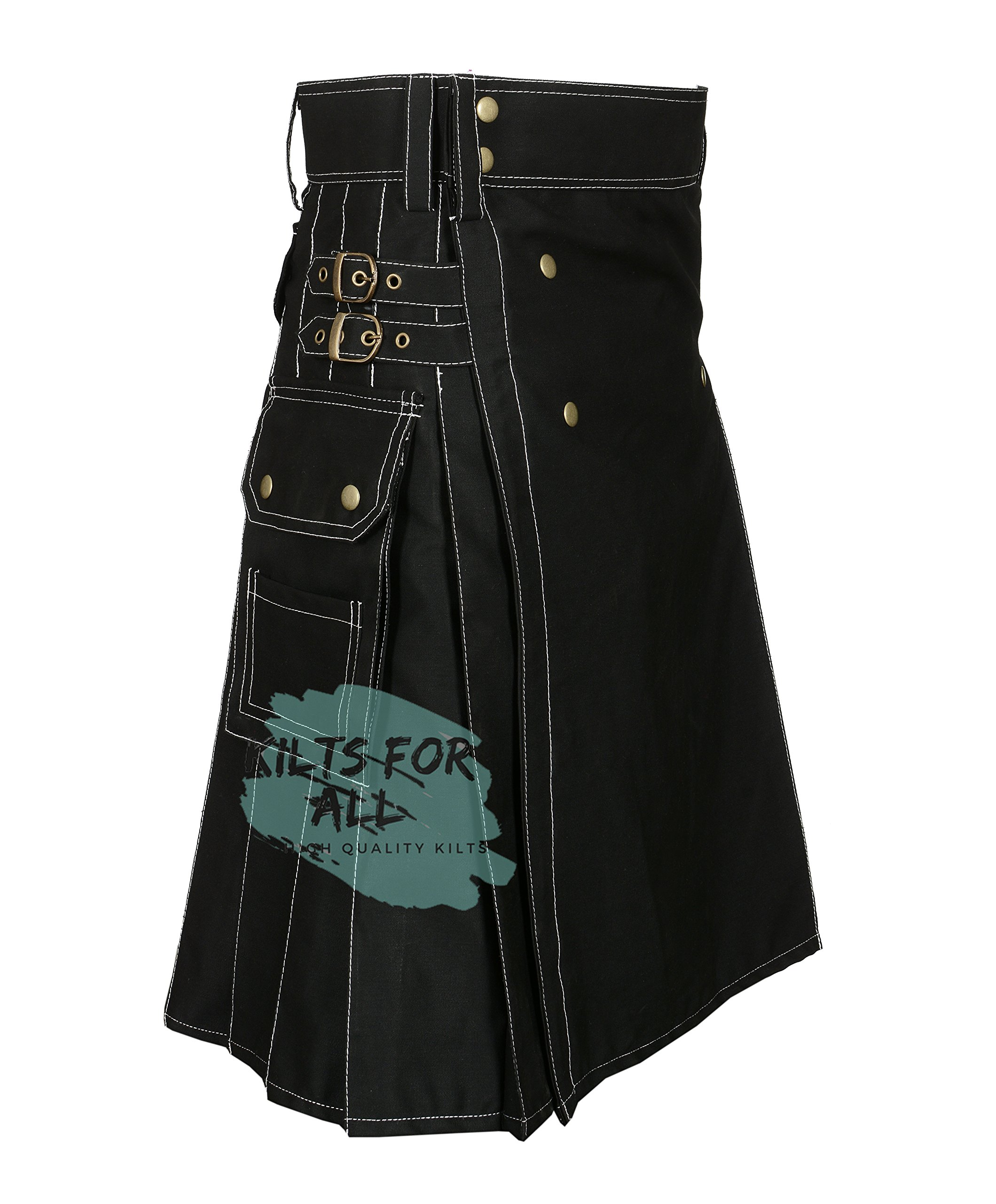 New Fashion Black Wedding Utility Kilt For Active Men (48'') by Kilts For All