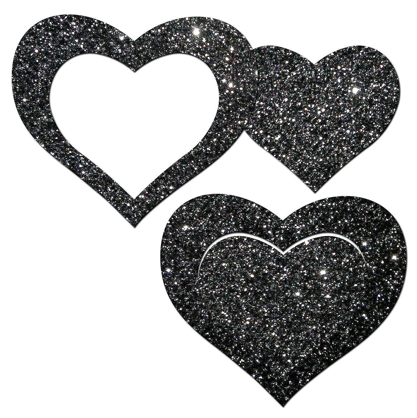 Pastease Donna Cuore scintillante nero con ritaglio centrale Copertura del capezzolo