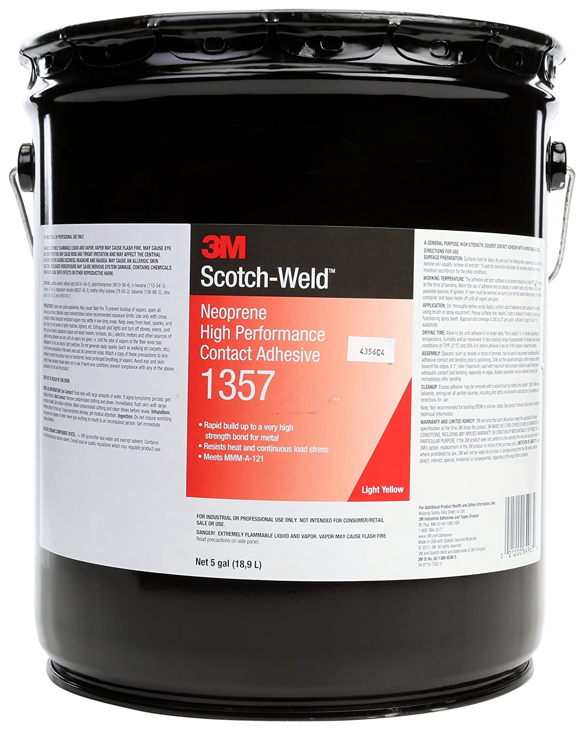 3M(TM) Neoprene High Performance Contact Adhesive 1357 Gray-Green, 1 Gallon
