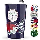 Steep & Strain Ceramic Tea Mug - Insulated Cup with Tea Infuser and Lid - Purple Floral