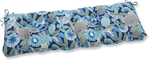 Pillow Perfect Outdoor/Indoor Catching Rays Cobalt Tufted Bench/Swing Cushion