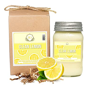 Aira Soy Candles - Organic, Kosher, Vegan, in Mason Jar w/Therapeutic Grade Essential Oil Blends - Hand-Poured 100% Soy Candle Wax - Paraffin Free, Burns 110+ Hours - Clean Lemon - 16 Ounces
