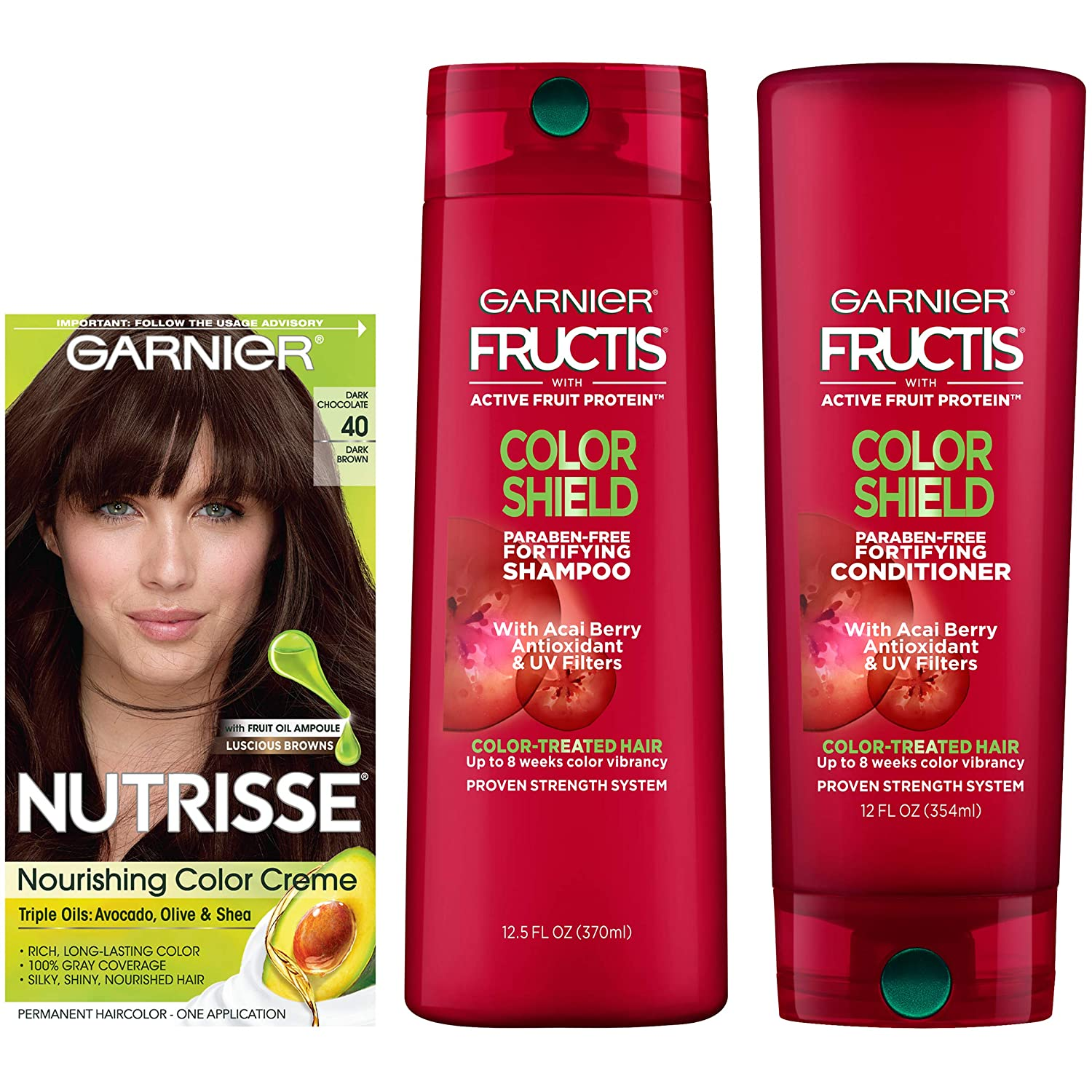 Garnier Nutrisse Hair Color and Fructis Color Shield Regimen Kit, 40, 3 count