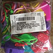 24 Colorful Neon Necklace Whistles ~ 2 Dozen Fun Noise Making Whistles ~2 Party Birthday Favors ~ Easter Basket Filler Prize Fairs //Sports Team// Gifts Loot Bags// RIN 4355116