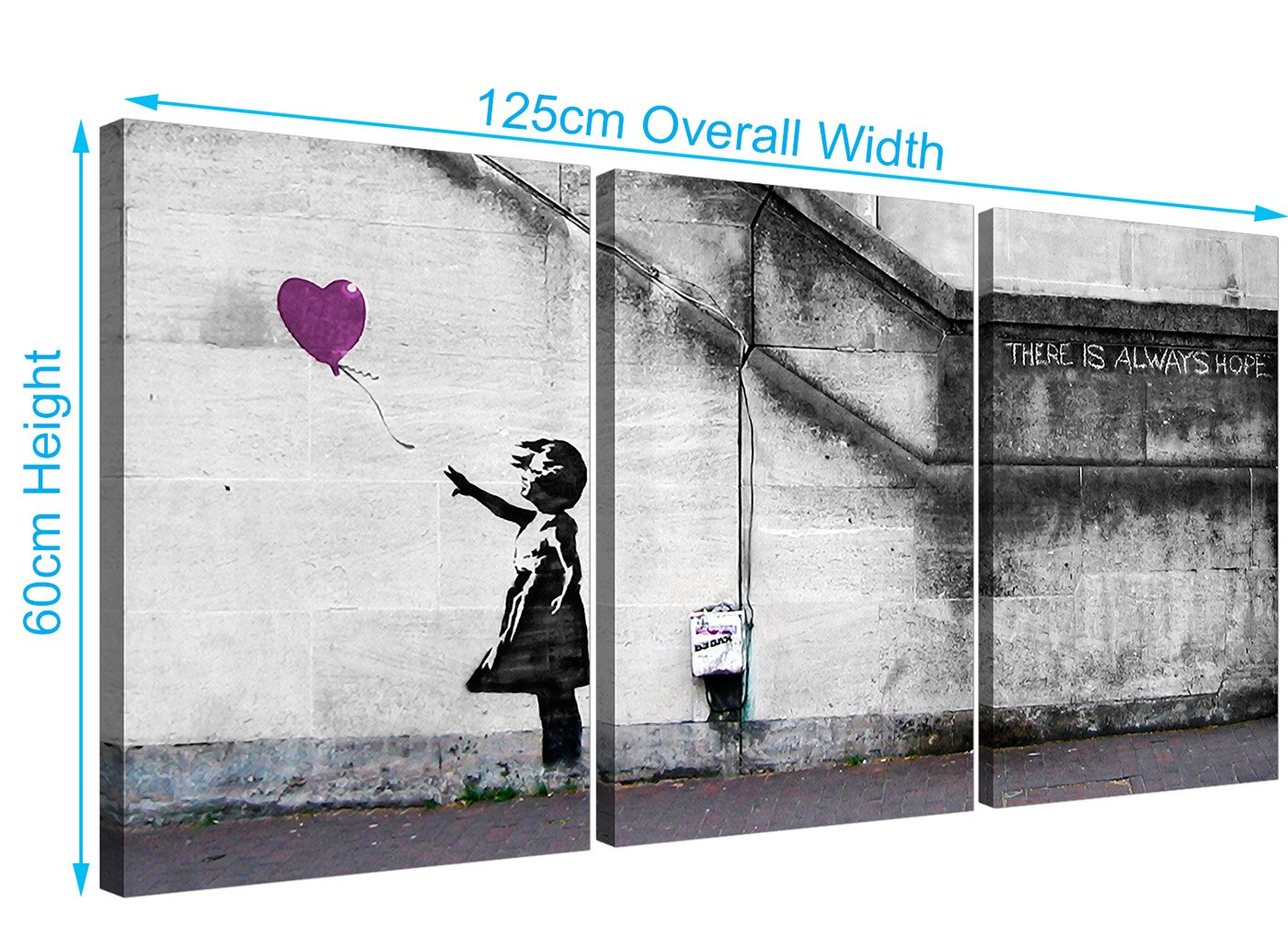 Banksy Balloon Girl Canvas Prints Set of 3 for your Hallway