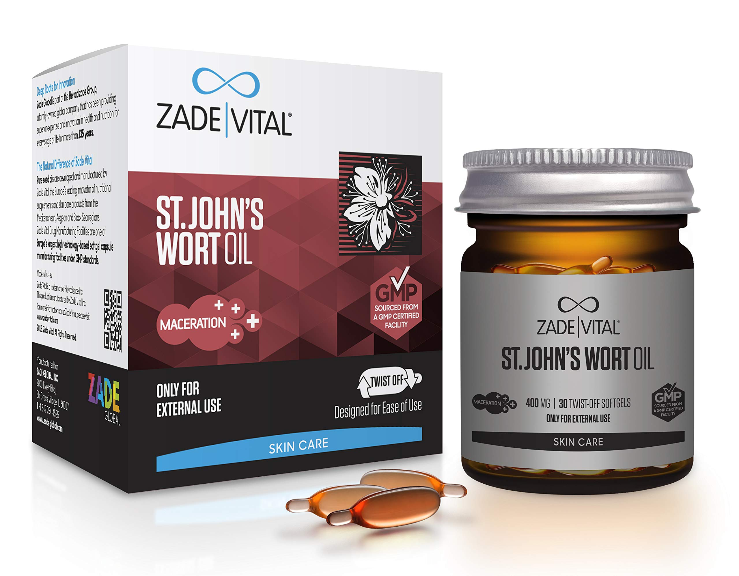 Zade Vital St. John's Wort Oil Supports Damaged Skin & Burn Repair in Twist-Off 30 Softgels, Easy to Use, Hypericum Perforatum Oil, 100% Cold Press, Non GMO, GMP, Maceration, 1 Month Supply