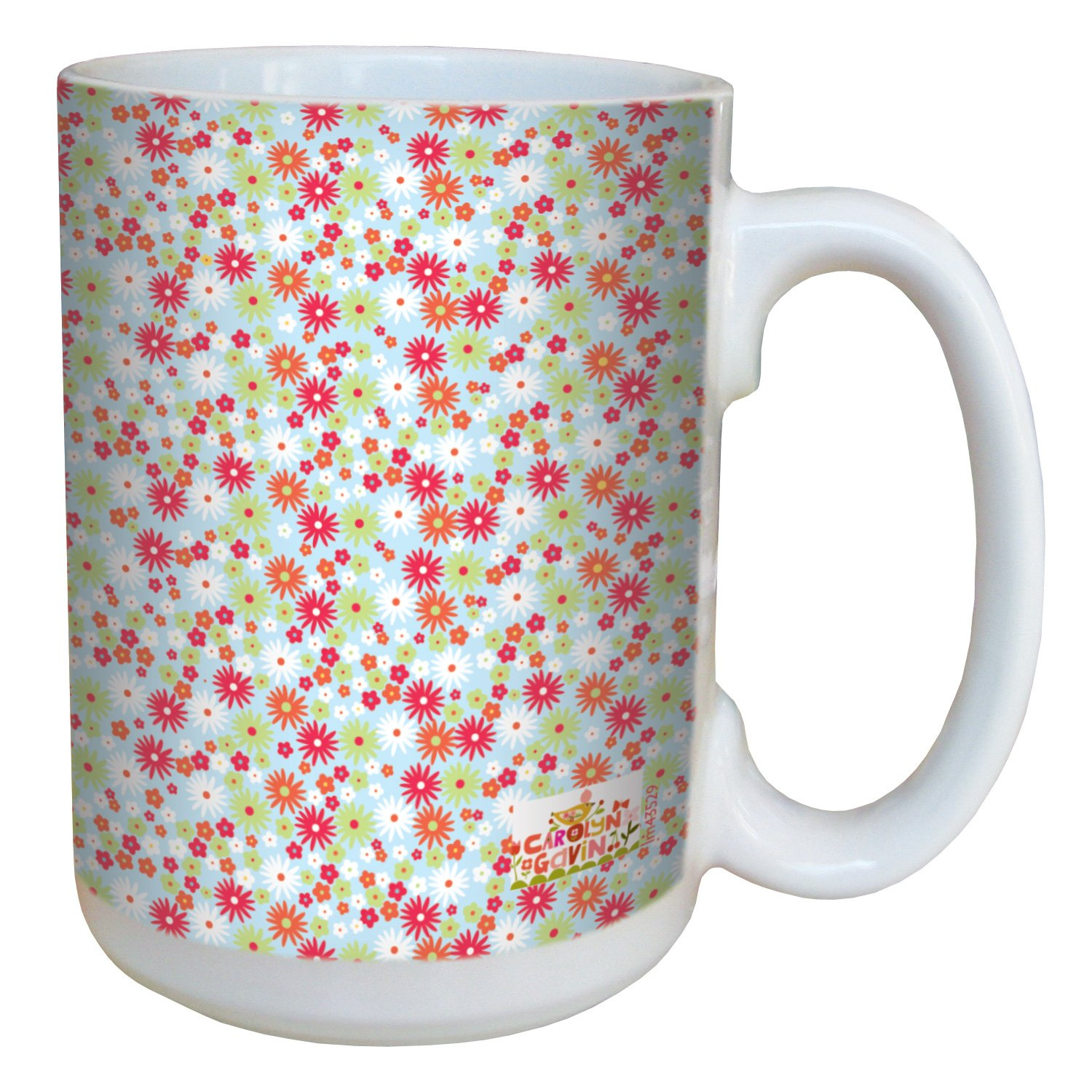 Tree-Free Greetings lm43529 Homey Little Daisies by Carolyn Gavin Ceramic Mug with Full-Sized Handle, 15-Ounce Tree Free
