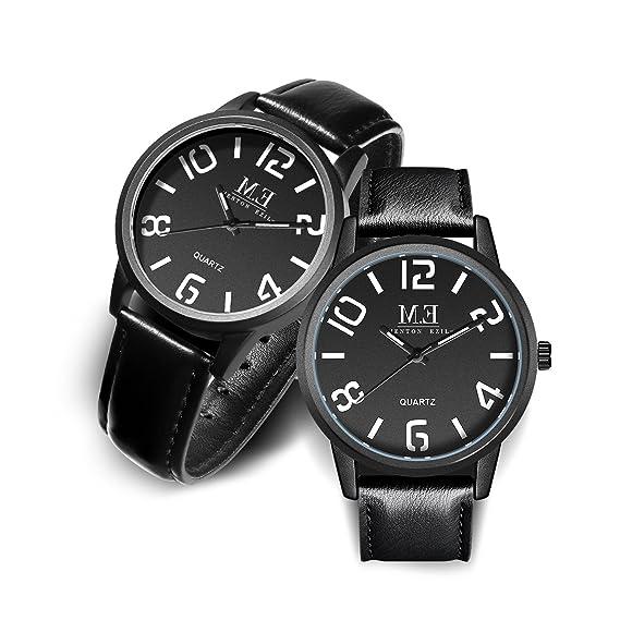 Menton Ezil Relojes de Parejas Cuarzo Analógico Clásico Correa de Cuero para los Amantes