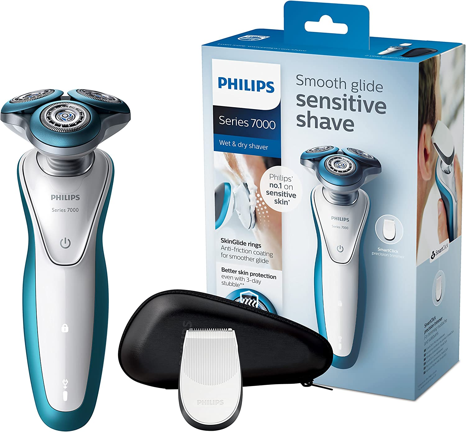 Philips SHAVER Series 7000 S7310 Rotación Recortadora Azul, Color blanco - Afeitadora (Batería/Corriente, Ión de litio, Rotación, Azul, Color blanco, LED, Ergonomic ...